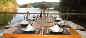 dining waterside at the lodge